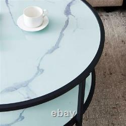 Tea Coffee Table Round Side Furniture Double Layer Storage Space metal frame