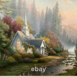 Thomas Kinkade Foothill Forest Chapel #2262/2950 framed vintage double signed