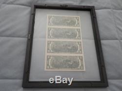 Uncut 4 Note Sheet 1976 Series $2 Star Frn In Attractive Double Glass Frame
