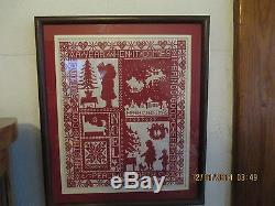 VERY RARE-Counted Cross Stitch Framed/glass & Double Matted Christmas Sampler