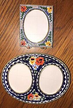 VINTAGE ITALY MICRO MOSAIC DOUBLE & SINGLE PICTURE FRAME Lot of 2 multicolor