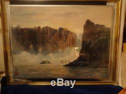 VINTAGE JAPANESE ORIGINAL WATERCOLOR PAINTING SIGNED Double Glass FRAMED
