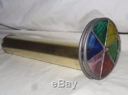 Vintage Brass Double Wheel Kaleidoscope With Lead Framed Stained Glass Wheels