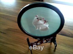 Vintage Chinese Double Sided Glass Silk Embroidery Cat Swival Frame
