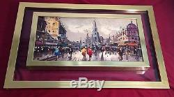 Vintage Double Glass Gold Framed Oil Painting Signed VITTI