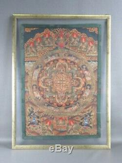 Vintage Painting Large Batik Painting Stained with Frame & Double Glass