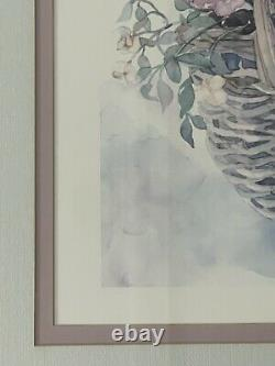 Watercolor Vintage Print Wood-Framed/Double- Matted/Glass/Signed by Jodi Jensen