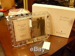 Waterford Double Frame Wedding Photo/Announcement 4x6 Crystal HeartsNEW